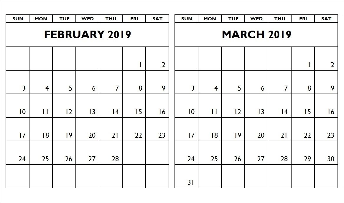 Two Month Calendar February And March 2019 Calendar Printable