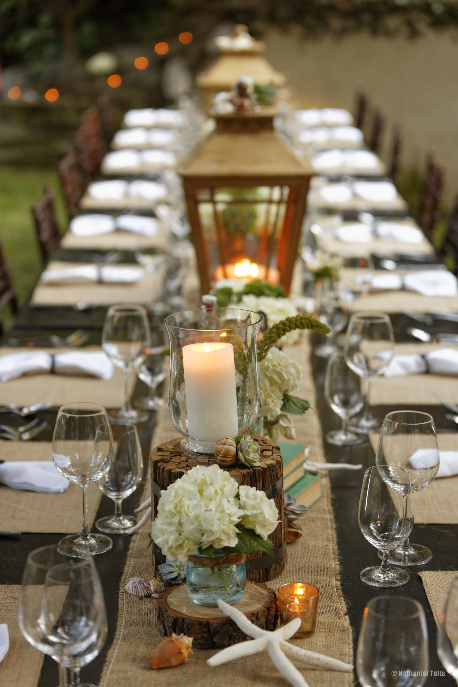 Rustic Cape Cod Dinner Party With White Hydrangeas Lining The Table Photography Nathaniel Tufts