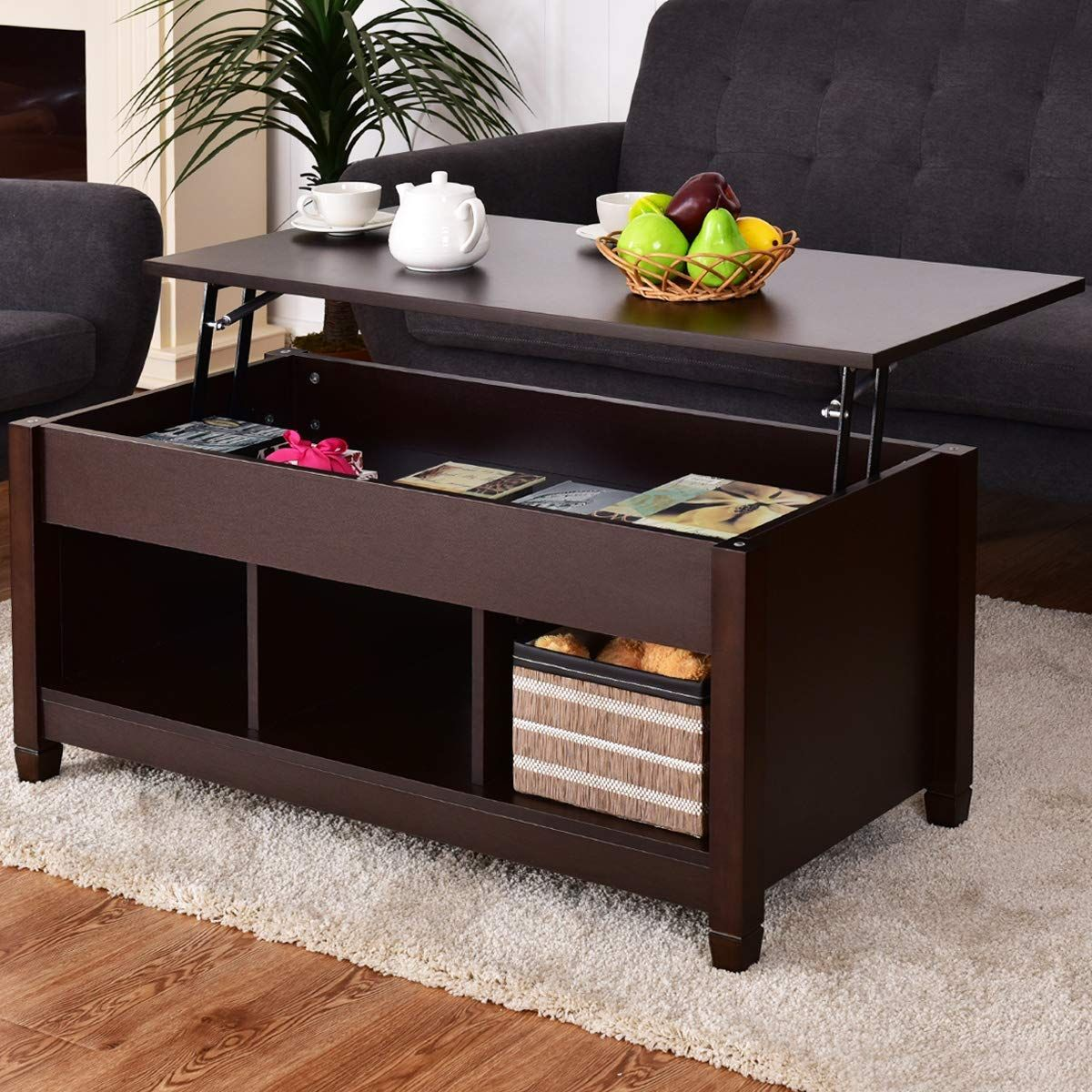 Dark Brown Mid Century Modern Lift Top Coffee Table Modern Furniture Living Room Coffee Table With Storage