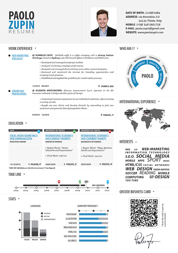Paolo Zupin Infographic Resume Infographic Visual Resumes