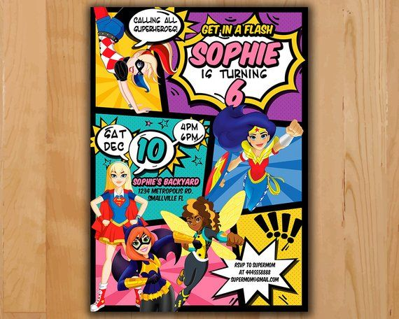 Superhero Girls Invitation