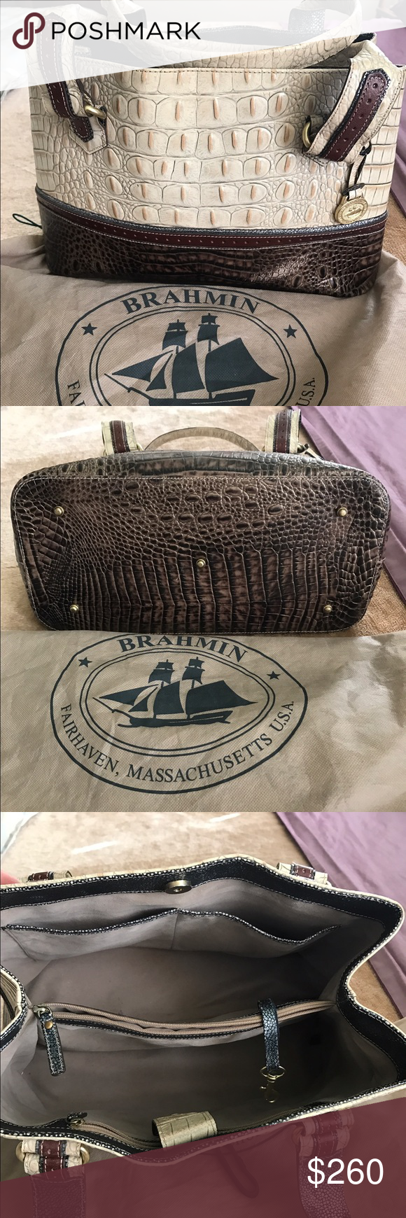 Brahmin handbag. Gorgeous with dust bag Dark brown and bone color great condition. Some pen marks inside. Otherwise interior of purse in excellent condition. Handles in great condition. Took care of this bag. Brahmin Bags Shoulder Bags
