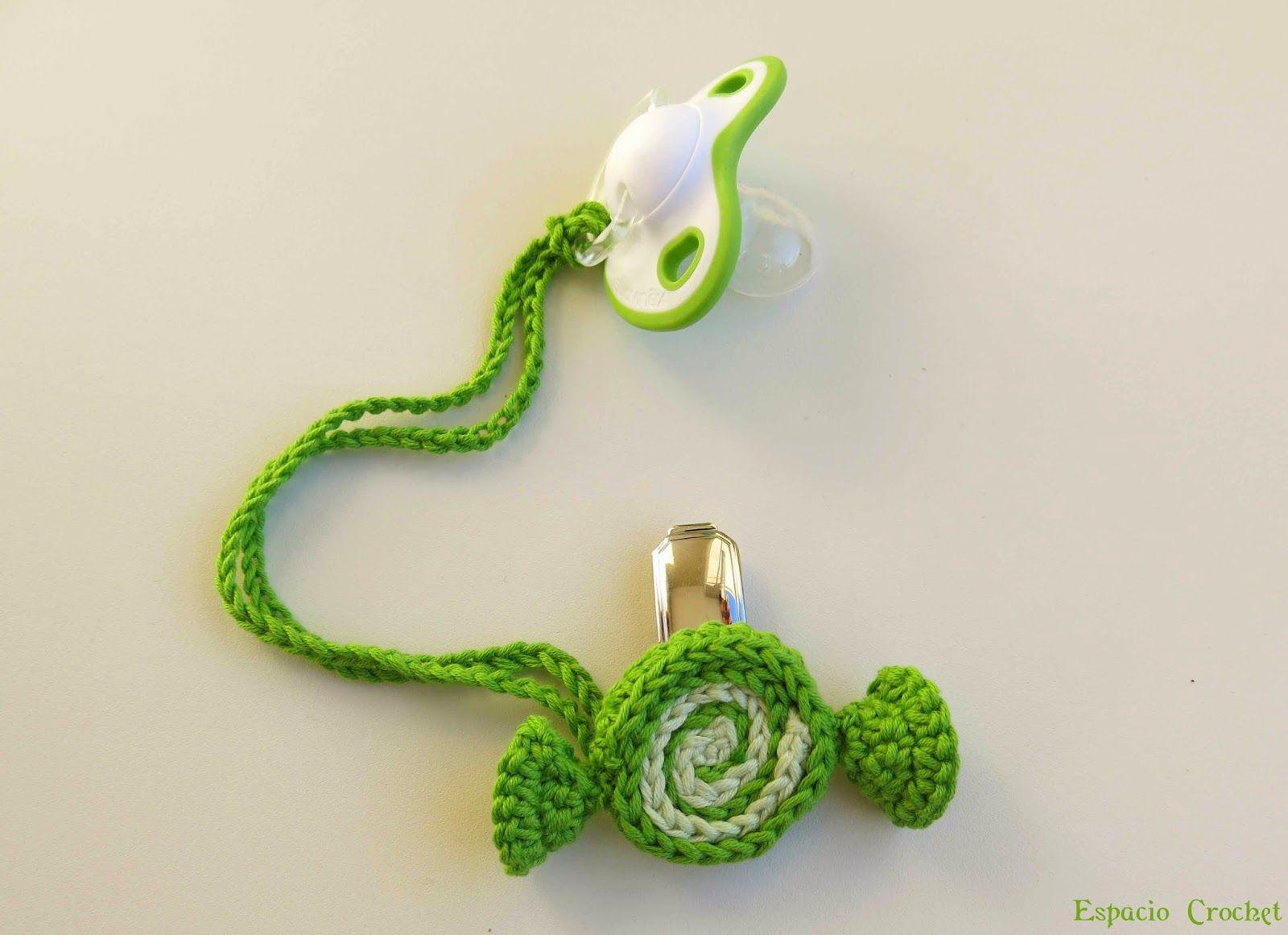 Espacio Crochet: Sujeta chupete niño | Pacifier clips crochet ...
