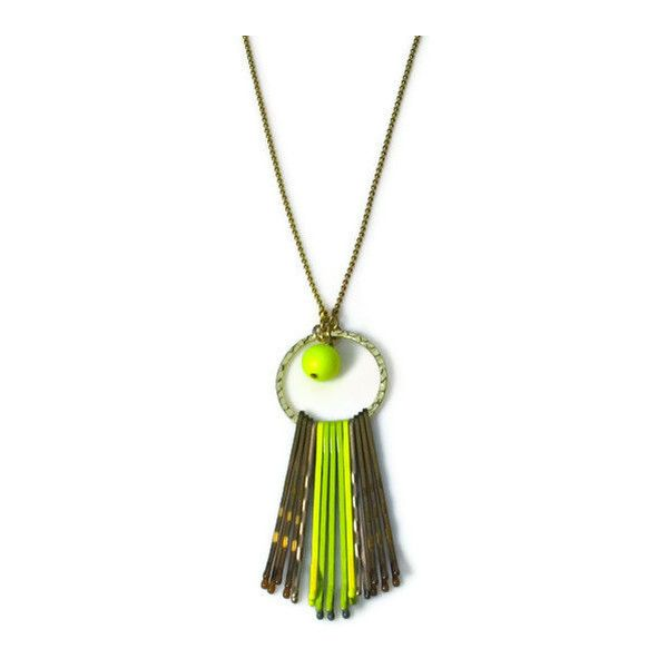 Long Necklace Boho Jewelry Neon Yellow Bright by BluKatDesign ($18) ❤ liked on Polyvore