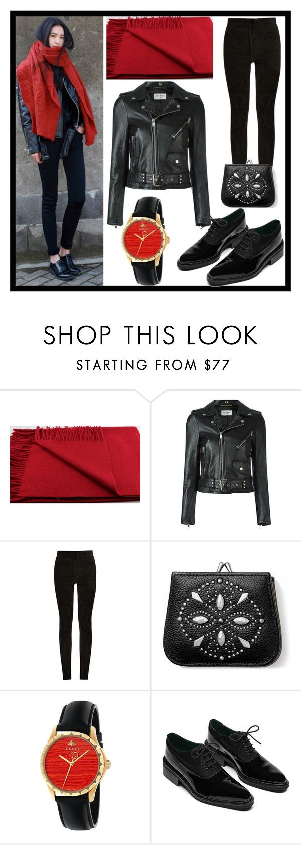 """""""black and red"""" by karen-lynn-rigmarole ❤ liked on Polyvore featuring Yves Saint Laurent, Isabel Marant, Brighton, Gucci and blackandred"""