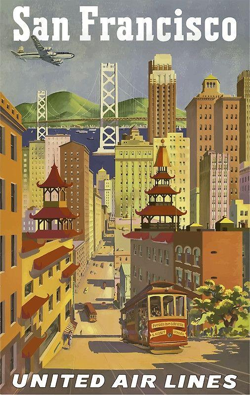 San Francisco United Air Lines Vintage Travel Poster | Destination ...