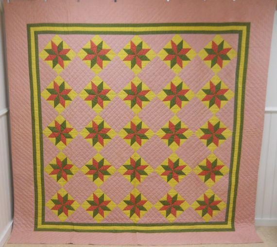 Hey, I found this really awesome Etsy listing at https://www.etsy.com/listing/228430599/antique-lemoyne-star-quilt-never-used