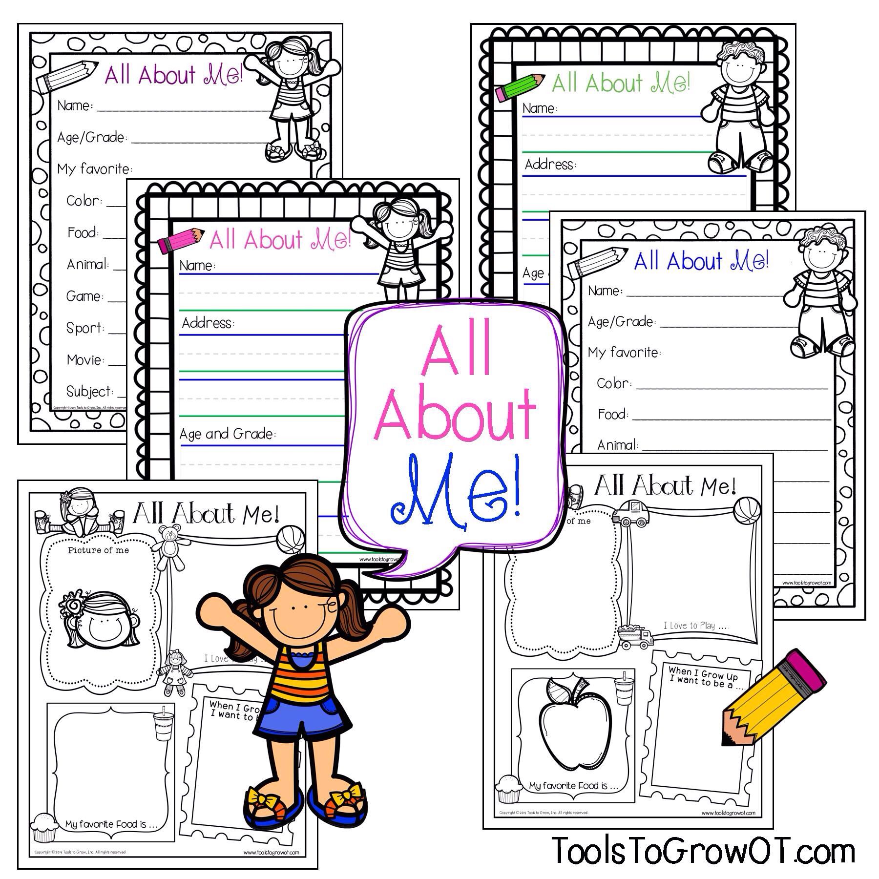 All About Me Writing And Colouring Resources