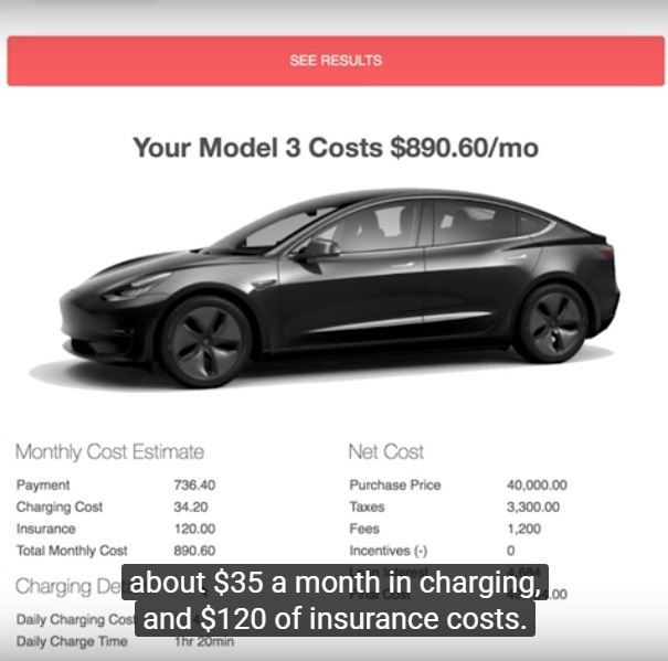 Tesla Model 3 Calculator Results Including Insurance Charging
