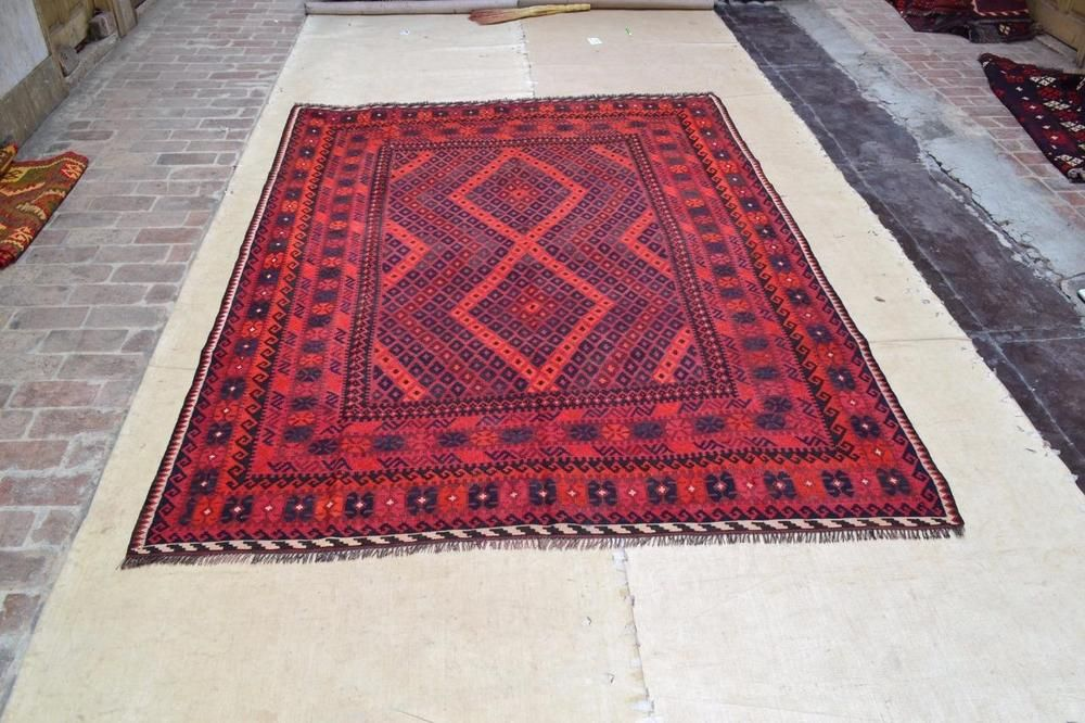 Vintage Style Afghan Red Maimana Kilim Area Rug 9 X7 5 Nomad Wool Carpet 4810 Rugs Kilim Area Rug Maimana Kilim