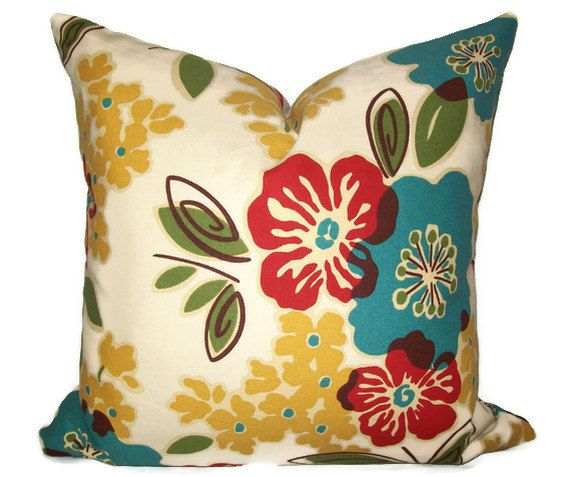 turquoise and red fabric yellowgreen flower pillow