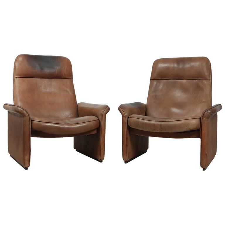 De Sede Lounge Chair Ds50 Tan Neck Circa 1960 Swiss Mid Century Modern Leather Armchair Vintage Modern Leather Sofa Armchair