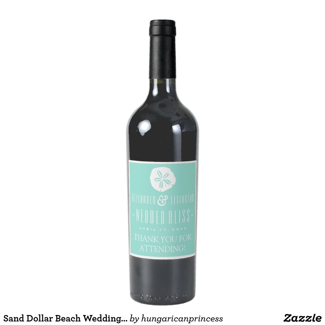 Sand Dollar Beach Wedding Customize Color Wine Label | Wedding ...