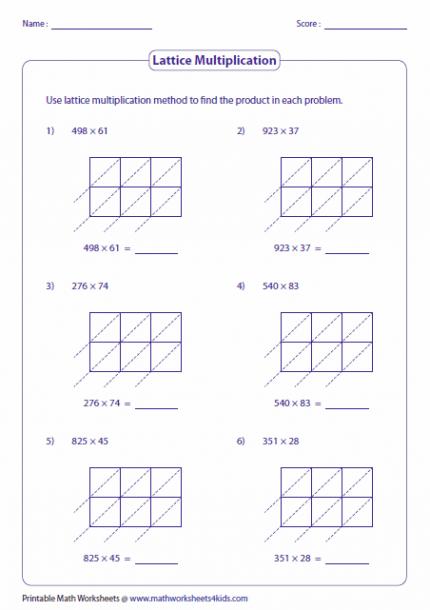 Lattice Multiplication Worksheets 4th Grade Lattice Multiplication Multiplication Multiplication Worksheets