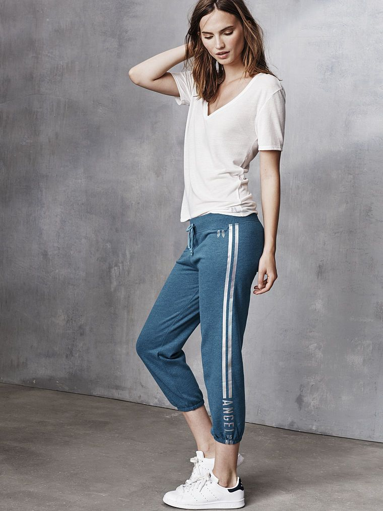 Metallic stripes on cozy fleece, because why shouldn't glam be an everyday thing? | Victoria's Secret Fleece Capri