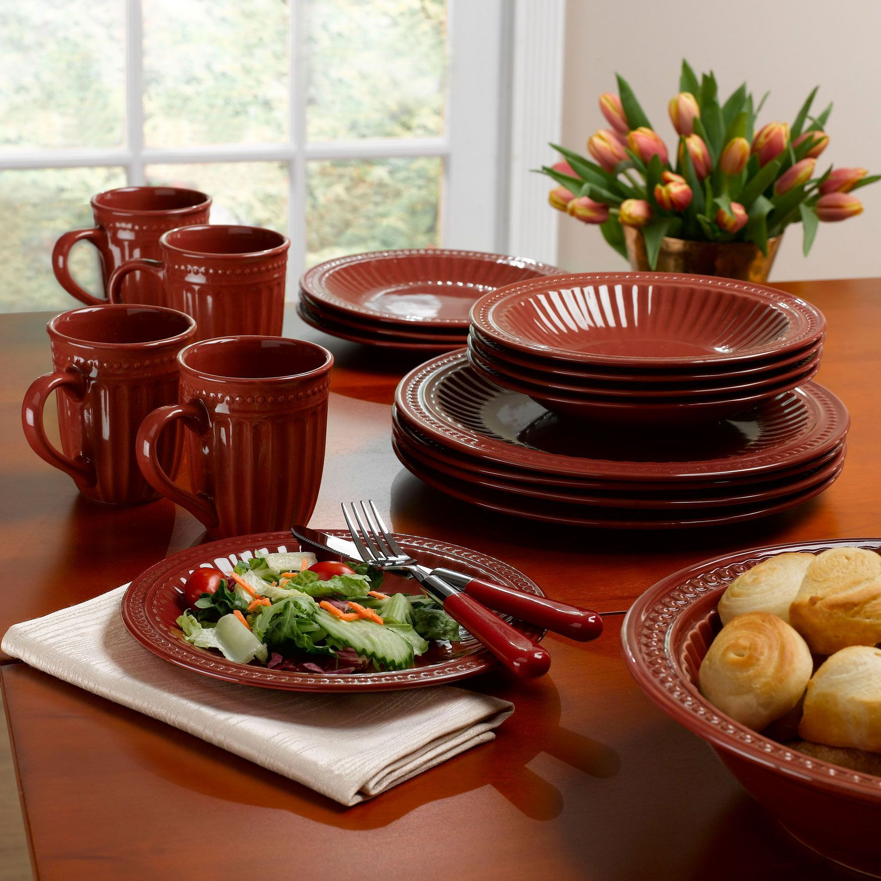 16 Pc Set Textured Burgundy Stoneware Dinnerware Dinnerware Flatware Brylanehome Stoneware Dinnerware Dinnerware Stoneware
