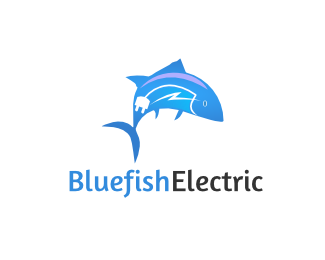 Bluefishelectric Logo Design This Logo Can Be Used For Various Company Most Powerful For Electrical Servic Logo Design Logo Design Collection Boat Companies