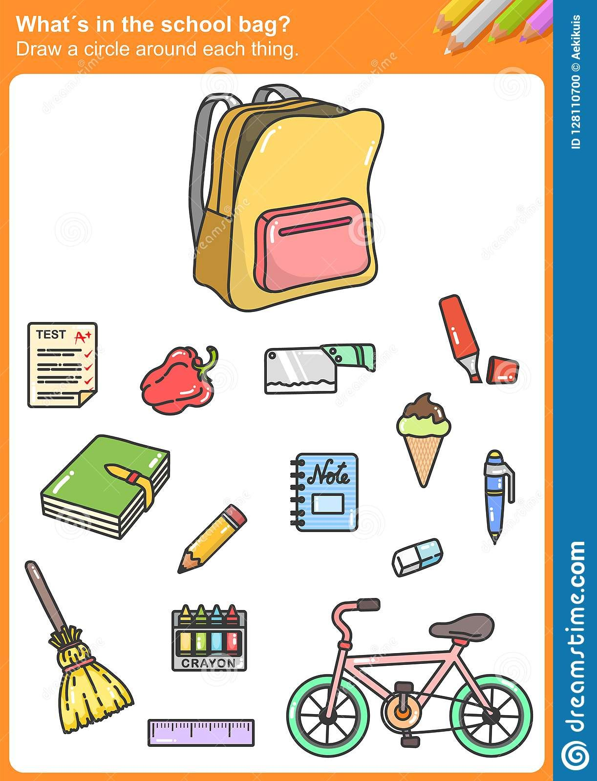 Illustration About What S In The School Bag Draw A Circle