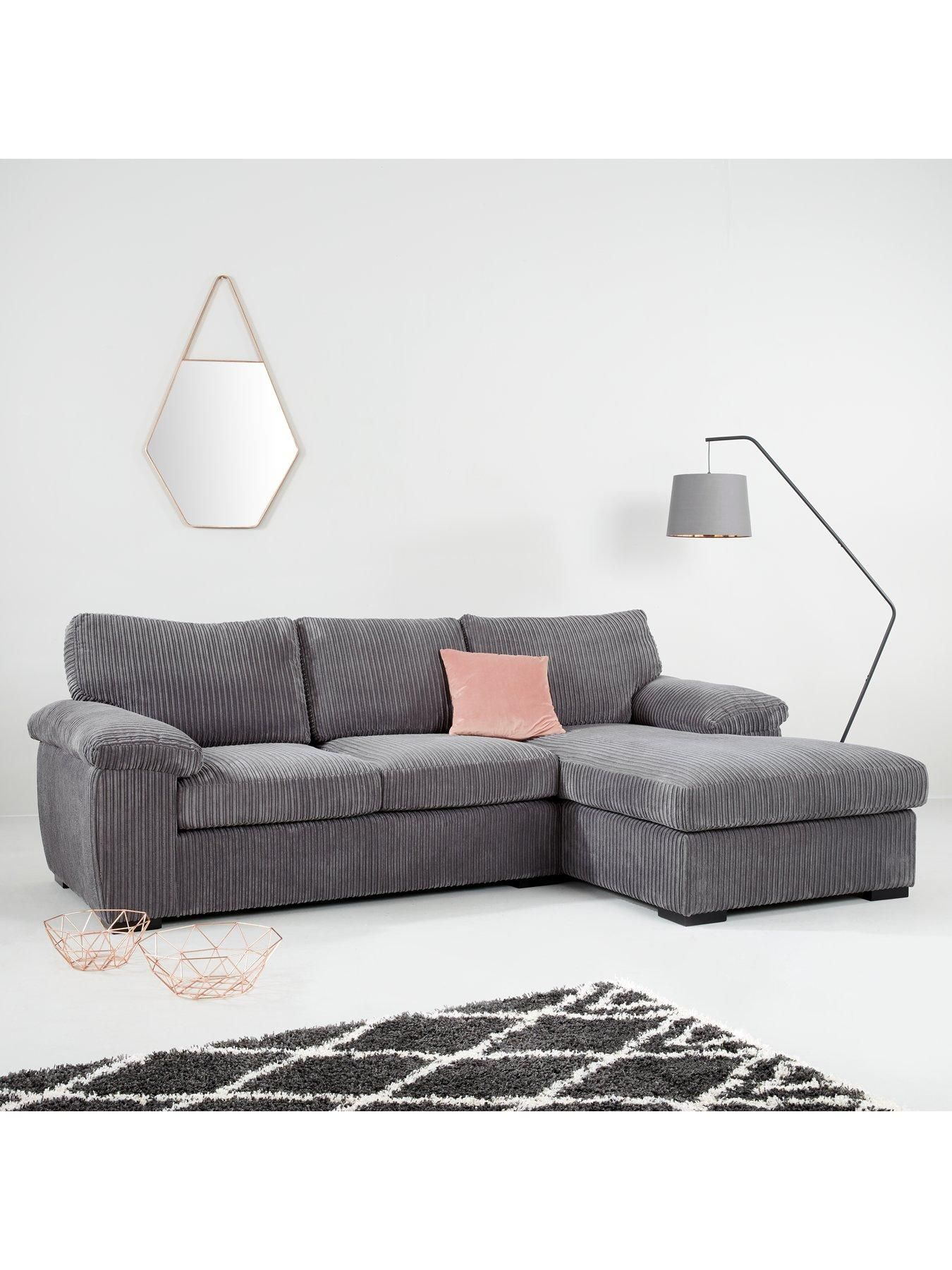 Amalfi 3 Seater Right Hand Standard Back Fabric Corner Chaise Sofa Charcoal Chaise Sofa Sofa New Furniture