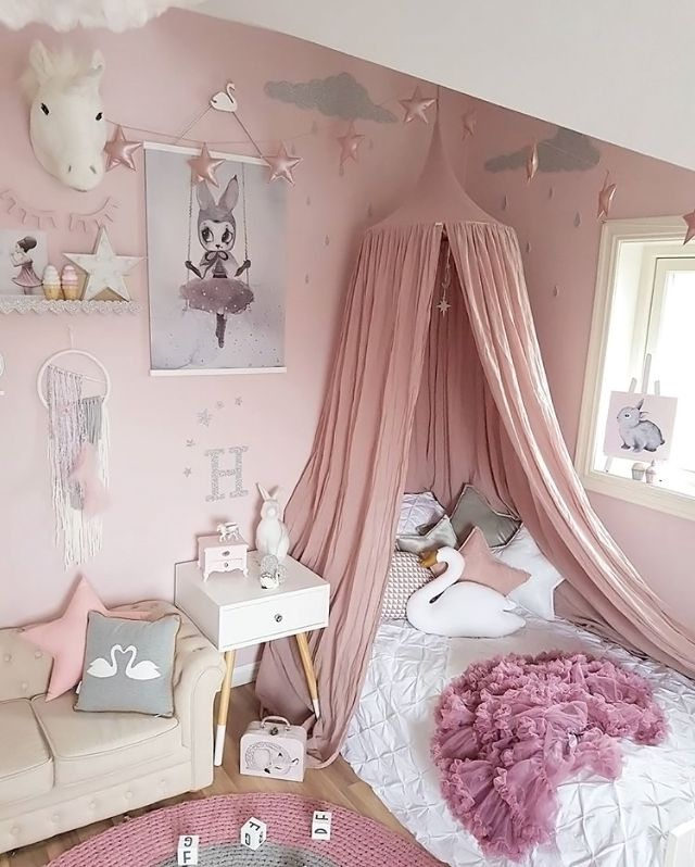 Pretty pink girlu0027s room - switch colors for my boy! : girls pink bed canopy - memphite.com