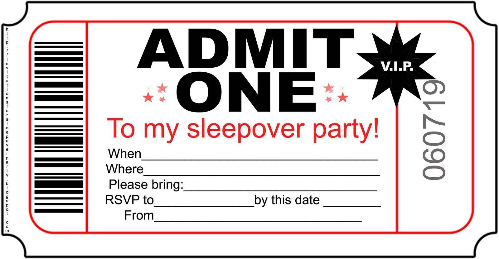 Free Printable Invitations For Kids Sleepover Invitationlayout