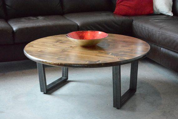 36 Round Coffee Table Steel Legs Industrail Table Coffee Table Rustic Coffee Table Handcrafted Hand Coffee Table Round Coffee Table Rustic Coffee Tables