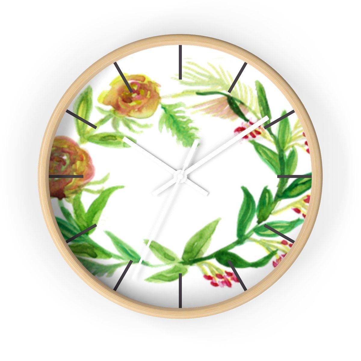 Orange Red Fall Roses Floral Print 10 Inch Diameter Unique Wall Clock Made In Usa Floral Wall Clocks Unique Wall Clocks How To Make Wall Clock