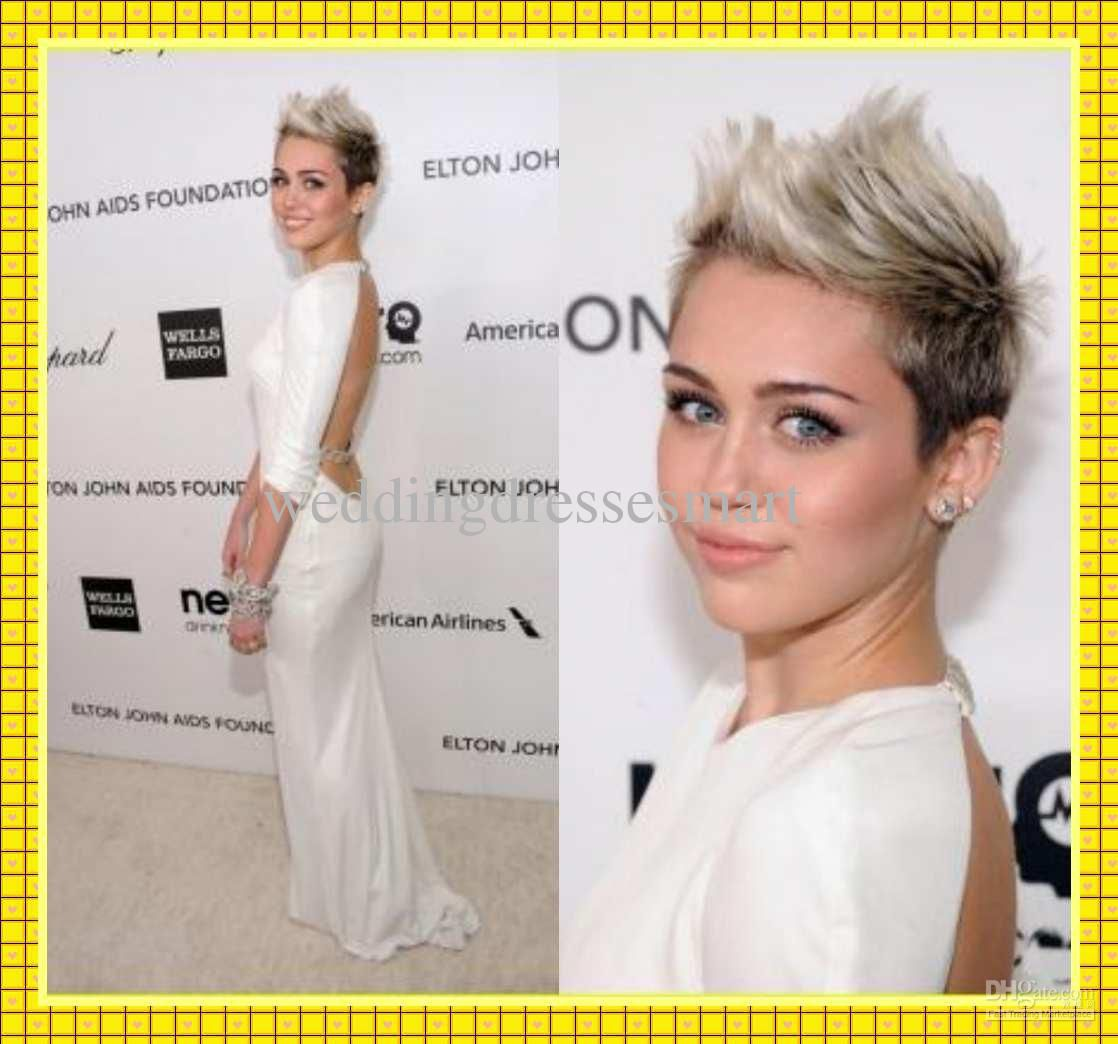 Miley cyrus oscar red carpet party dress white sheath backless