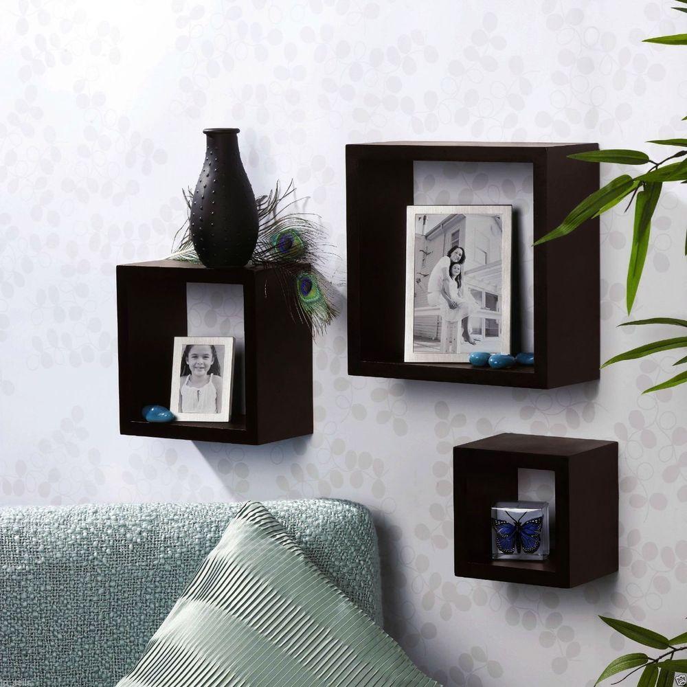 wood wall mount 3 shelf storage box shelves ledge home. Black Bedroom Furniture Sets. Home Design Ideas