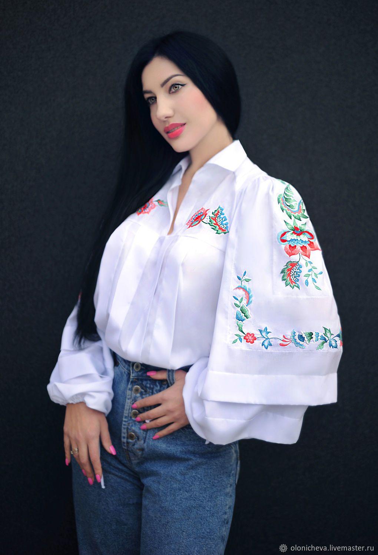 99cefbafaed Blouses handmade. White embroidered blouse  Norwegian motifs  stylish blouse.  KVITKA. My Livemaster.Dressy blouse