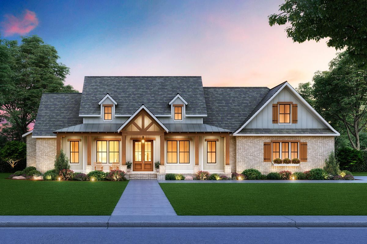 Plan 56473SM: New American Farmhouse Plan with Brick and Board and Batten Exterior
