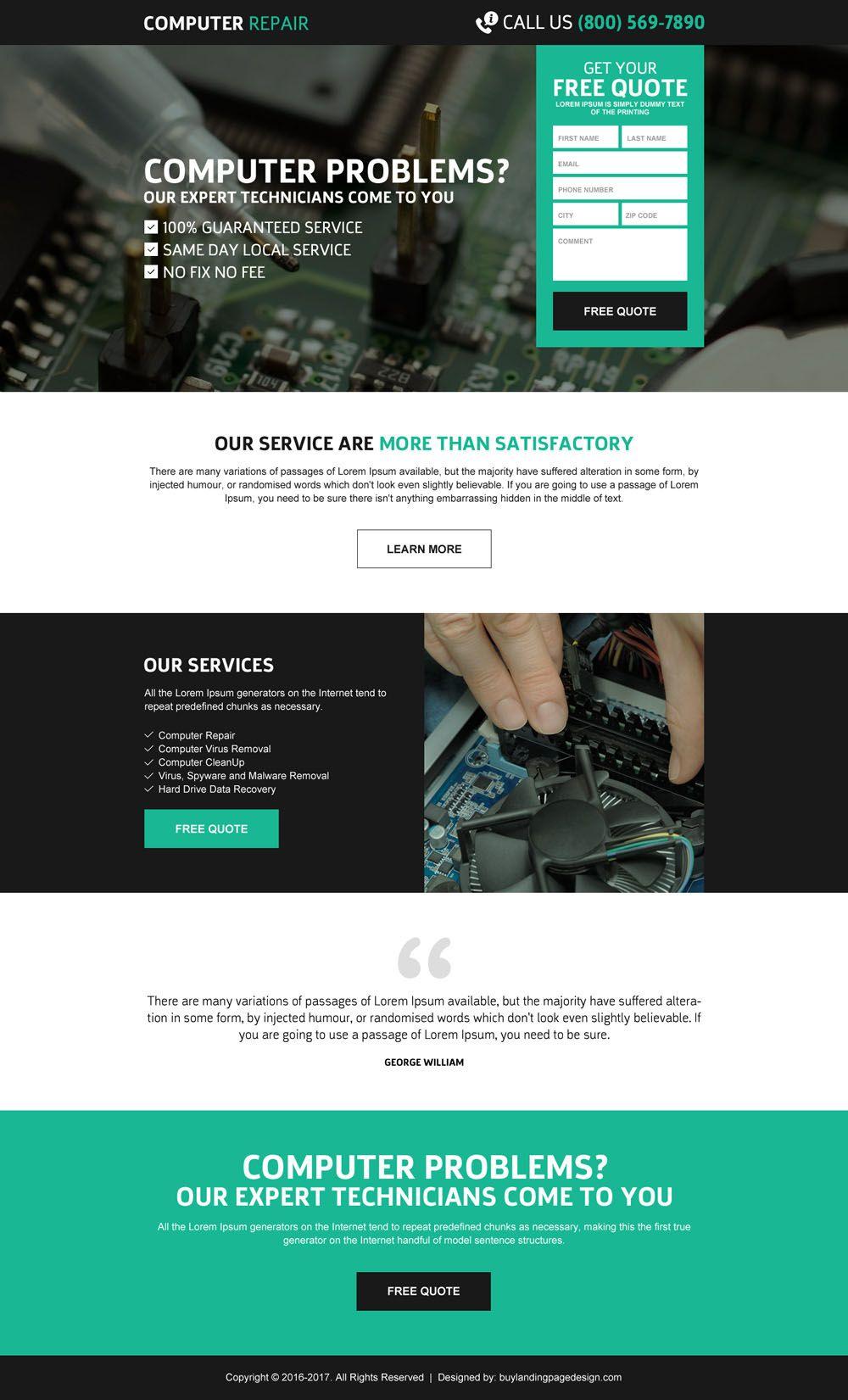 Computer Repair Service Effective Free Quote Lead Gen Responsive
