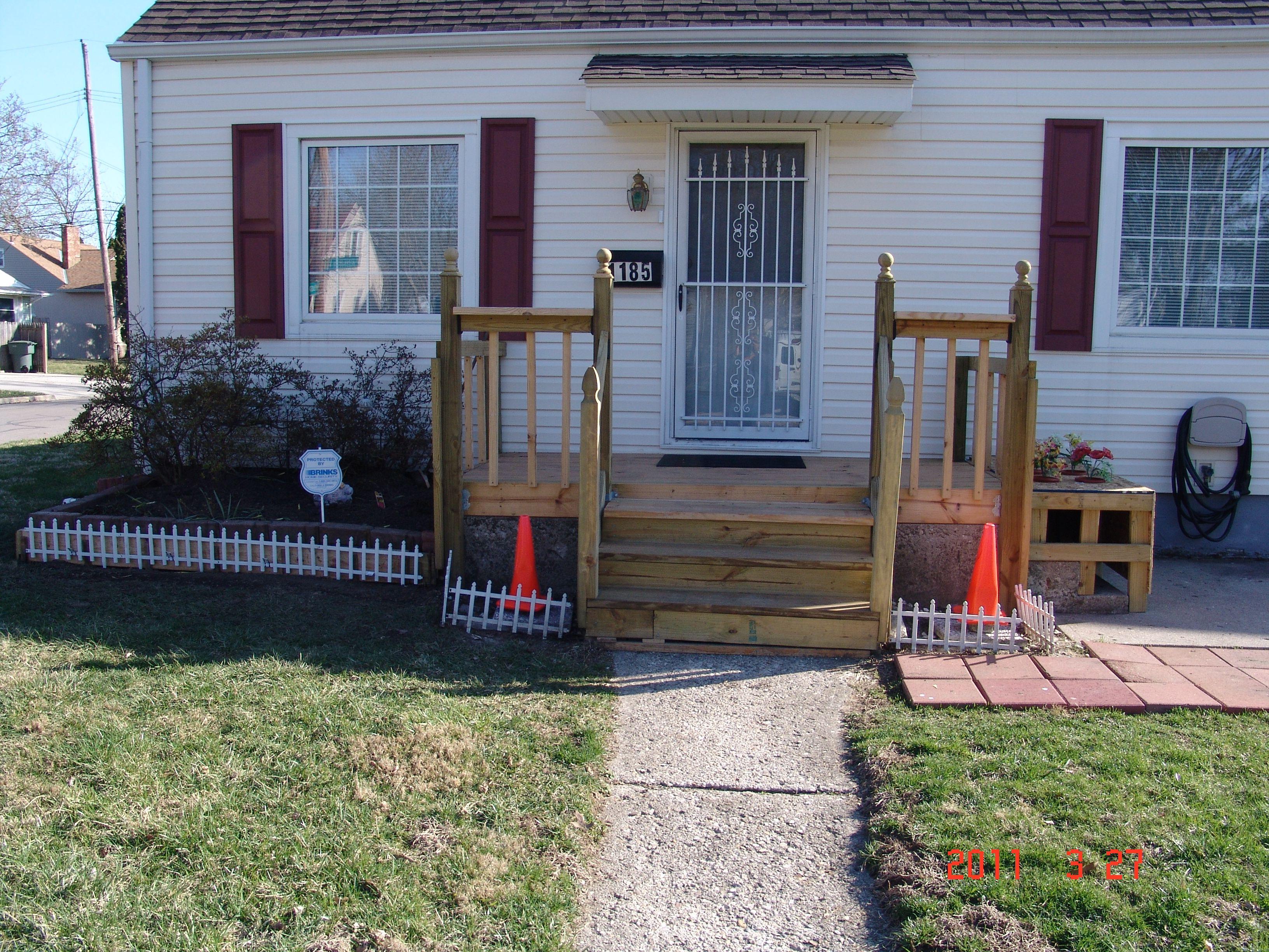 Building A Front Porch Deck Steps Rails Over Old Concrete Steps