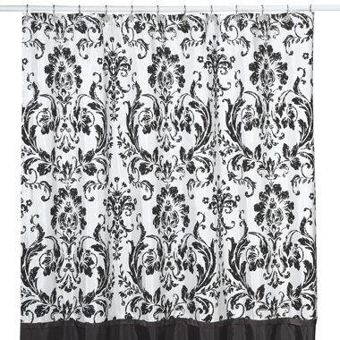 black and white damask shower set | white damask shower curtain ...