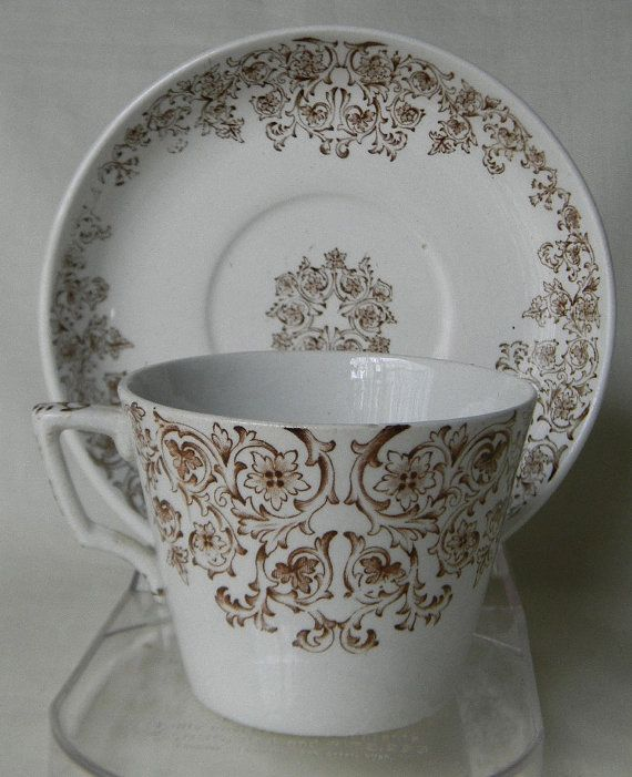 Aesthetic Brown Transferware Cup And Saucer Circa 1860 80 By Gl Ashworth Bros Www Englishtransferware Etsy