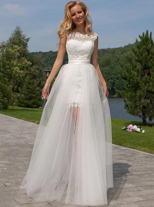Lace Short Wedding Dress With Detachable Tulle Skirt Full
