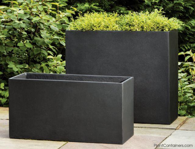 Fusion Tall Rectangular Planter Contemporary Outdoor Pots And