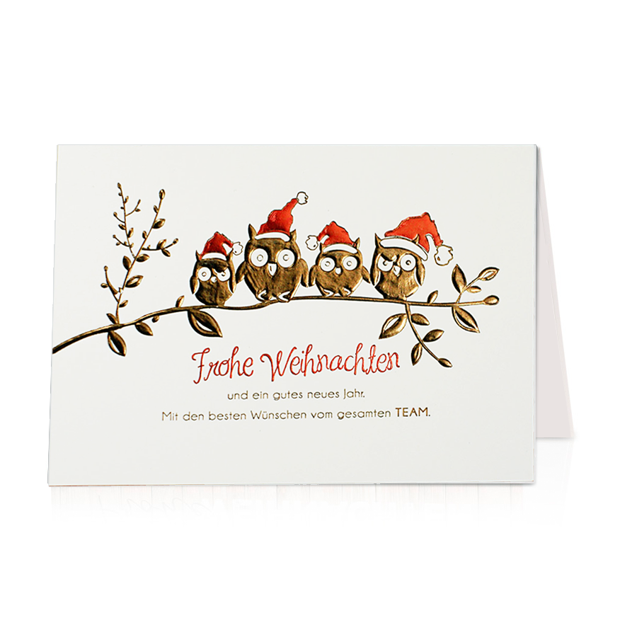 lustige weihnachtskarte eule mit edler folienpr gung weihnachtskarten 2016 2017