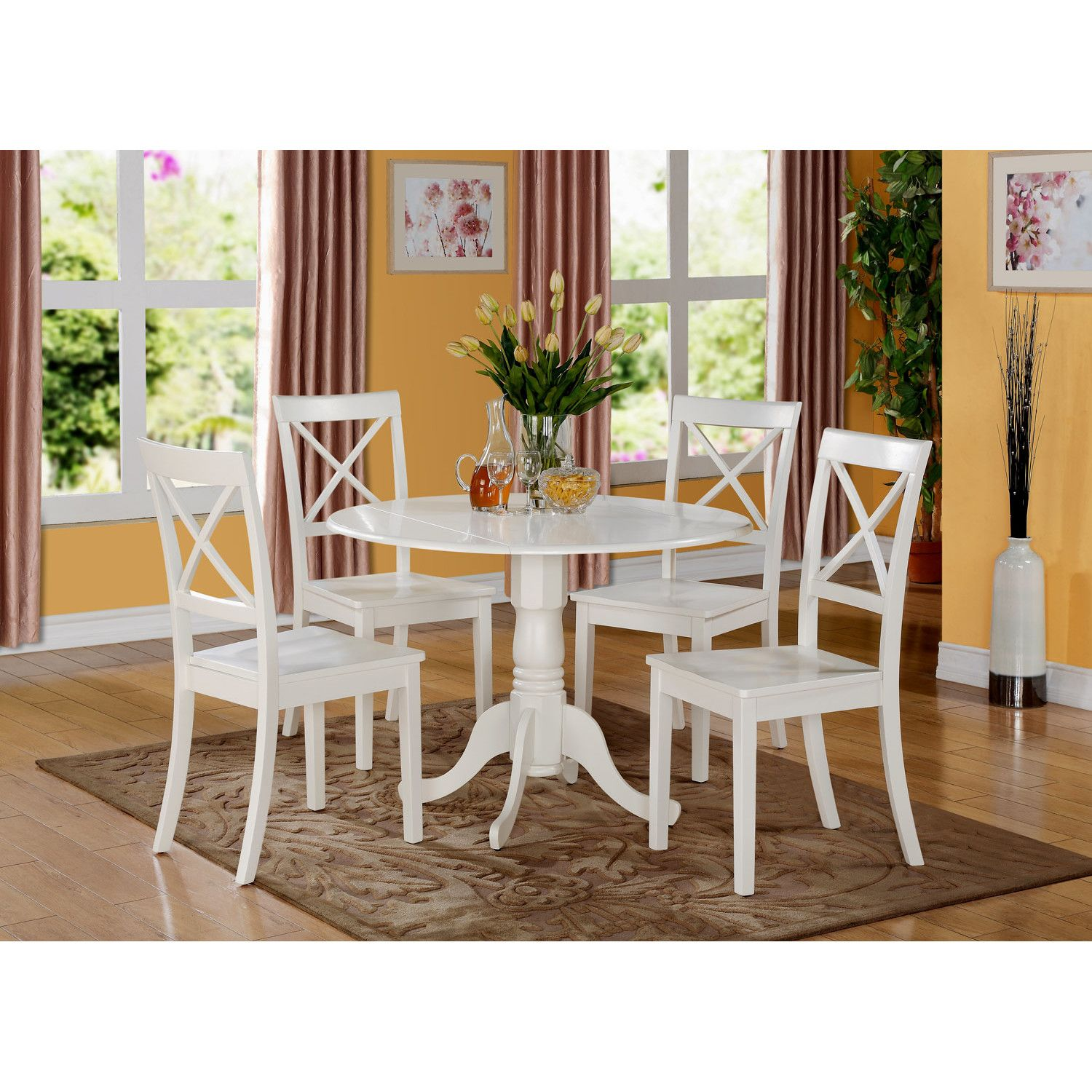 Charlton Home Gloucester 5 Piece Dining Set Round Dining Table Sets Small Glass Dining Table Dinette Chairs