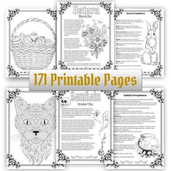 Wheel of the Year, Book of Shadows, Wiccan Sabbats Grimoire Pages (171 Printable Coloring Sheets) Vol.1