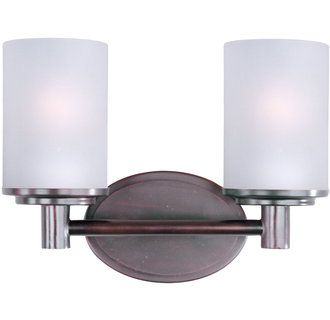 Photo of Maxim 9052SWOI Oil Rubbed Bronze / Satin White Glass Cylinder 12″ Wide Bath Light