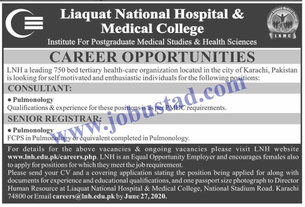 Consultant and Senior Registrar Jobs in Karachi 2020 in