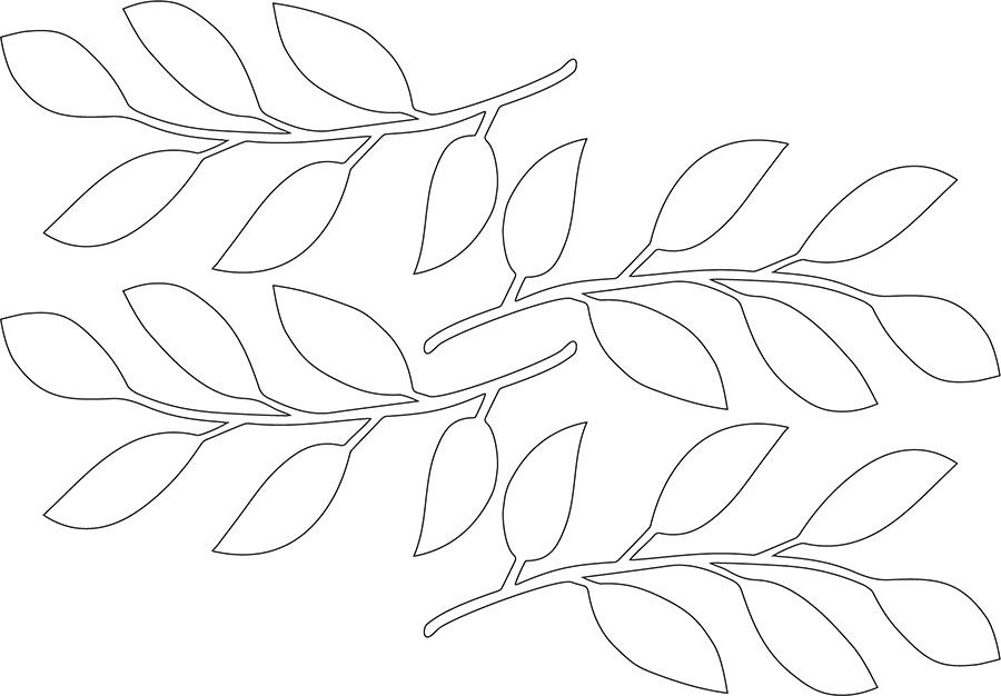 Die Vorlage für die Stengel mit Blätter ist auf eine DIN
