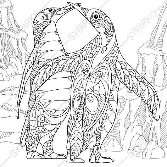 Penguins Coloring Page. Adult coloring book by ColoringPageExpress ...