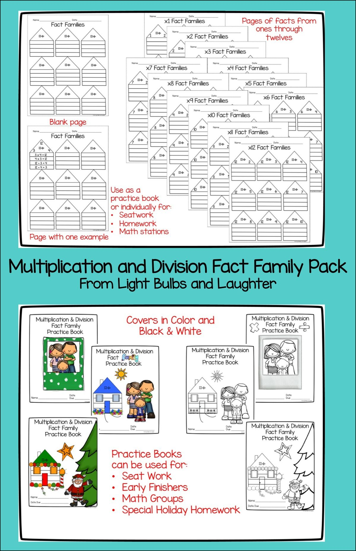 Multiplication Amp Division Fact Family Practice Pack