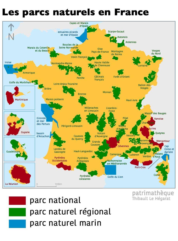 Les Parcs Naturels En France Cartotheque Patrimatheque Les Regions De France Carte De France Parc Naturel