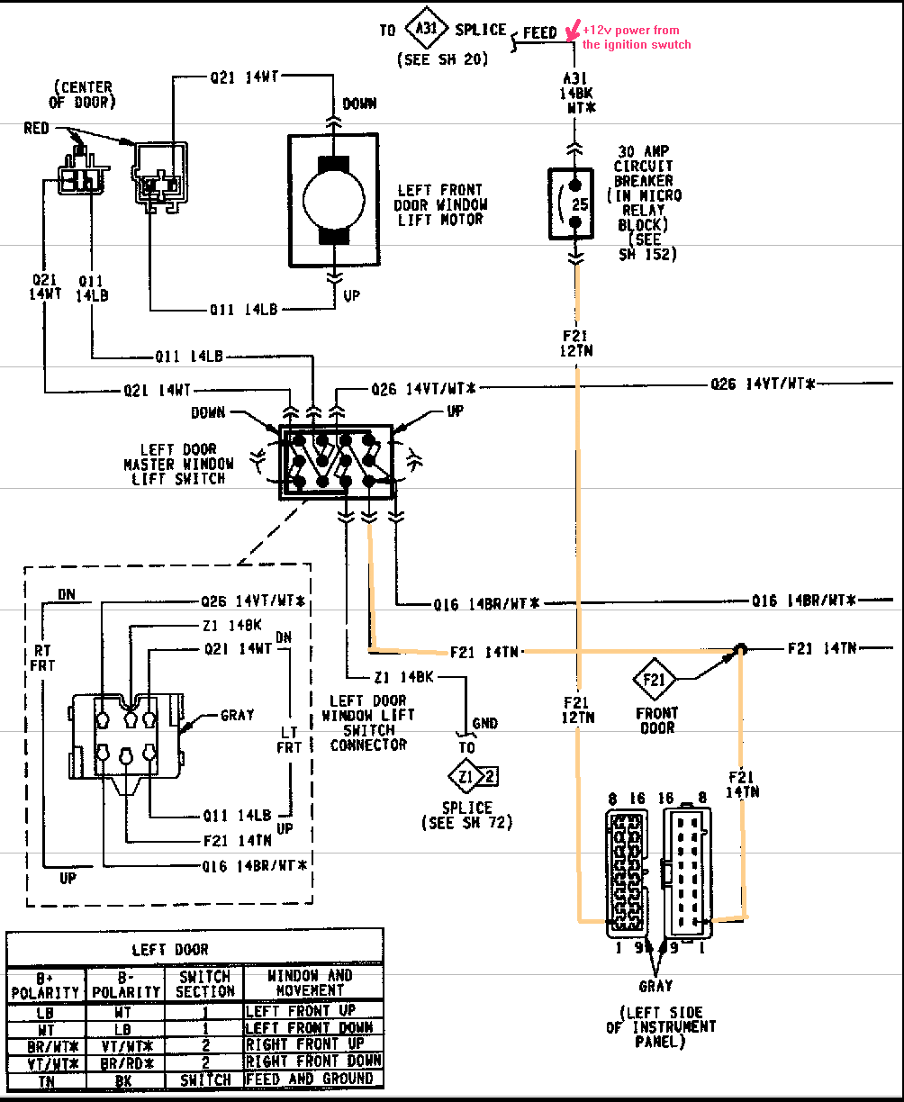 98 plymouth Power Window Switch Wiring Diagram | 1994 Plymouth Grand Voyager  power windows will not operate.