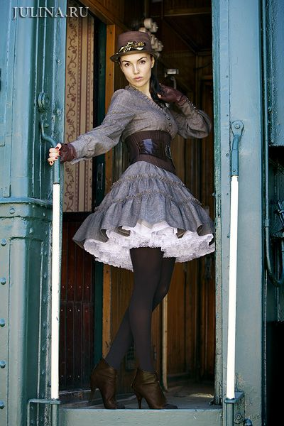That crinoline is so cute! stockings and fluffy skirt.