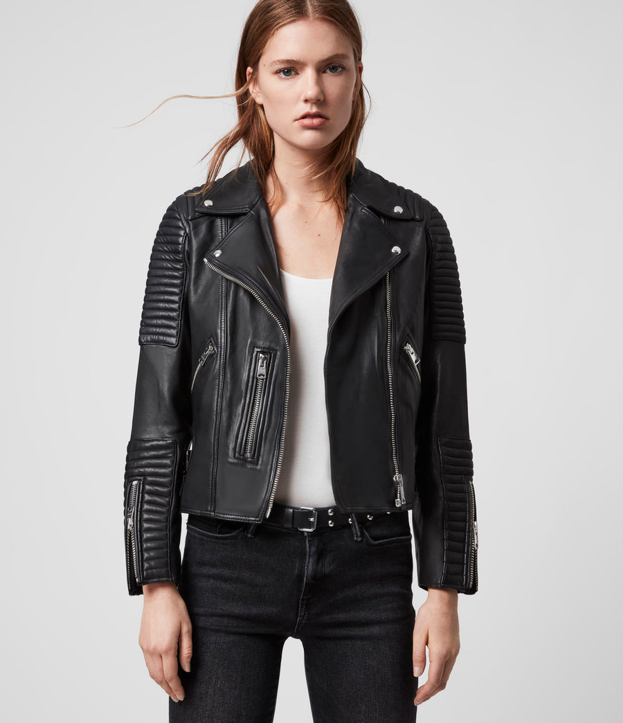 Womens Estella Leather Biker Jacket (black) in 2020