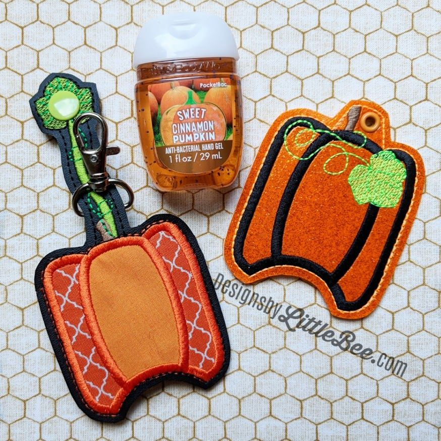 Pumpkin Hand Sanitizer Holder Key Fob Snap Tab September 2018